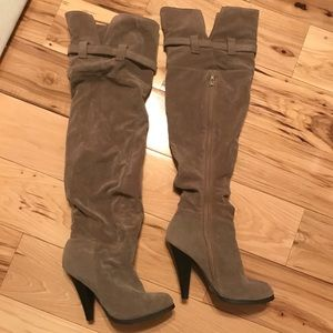 Qupid over the knee tan heeled boots, 7